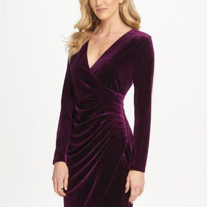 Dkny Dresses - DKNY Velvet Side Ruche Sheath Dress Grape Size 4